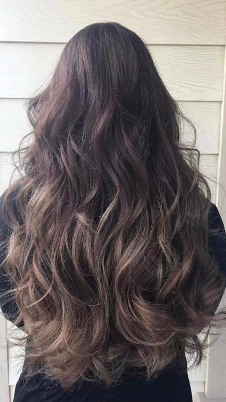 Ash Brown color for long hair