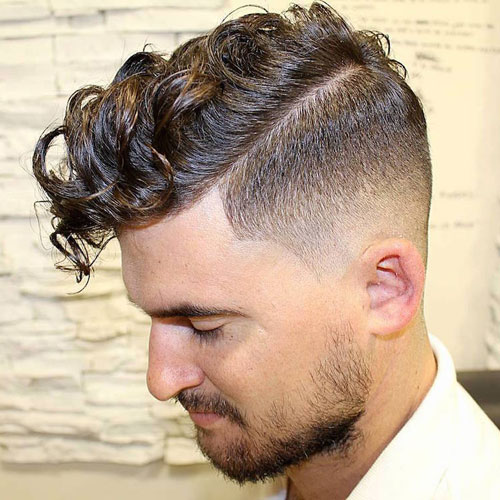 High fade with a long curly edge