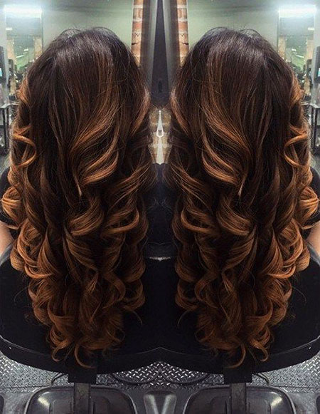 Brown Ombre Highlights Curled Caramel Balayage V Long Small