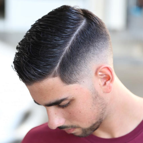 Hard side part with faint bald fading