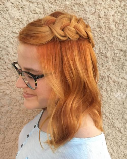 Hair color with pigtails