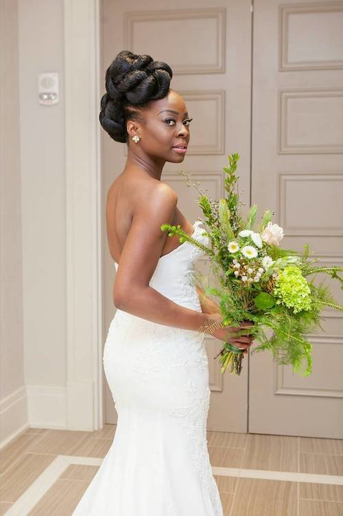 black bride with chiseled hair