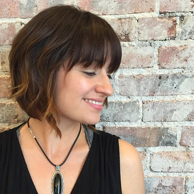 Pretty short bob hairstyle with bangs for ladies