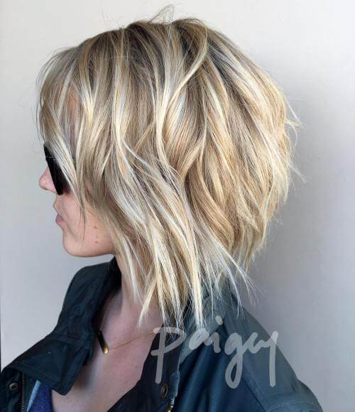 Dramatic short layered hair with waves