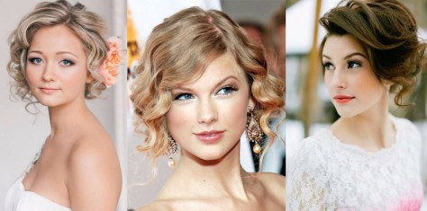 Trendy short hairstyle for wedding [19659018] Wavy short to medium-length hair with flowers