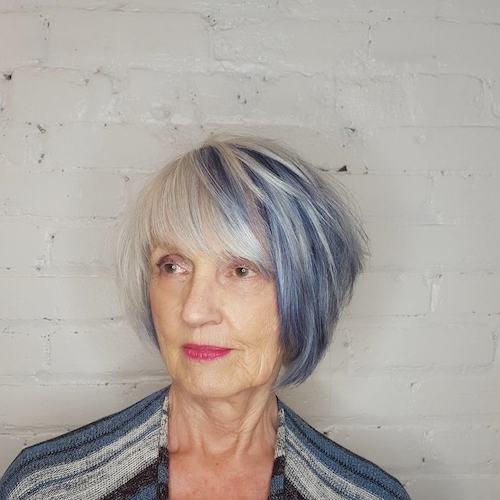 blue hair color for women over 50