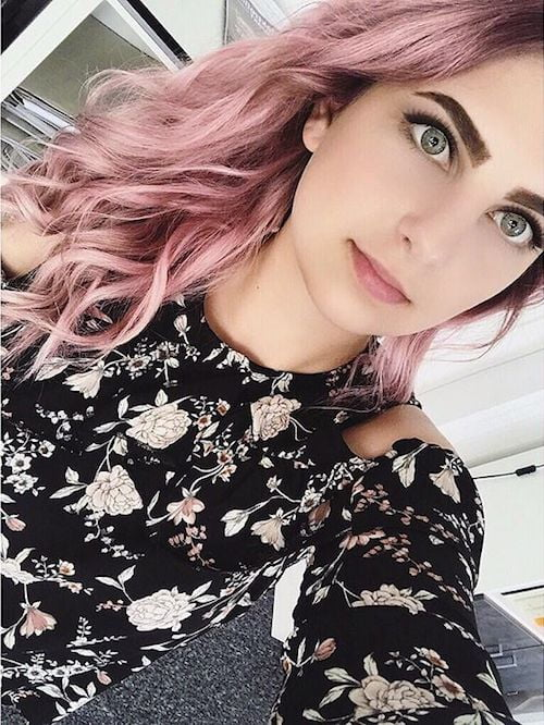 long, wavy, dusty, pink hair color