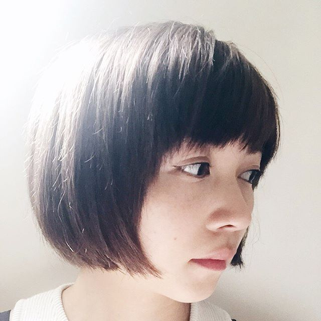Cute rounded short bob hairstyle for girl