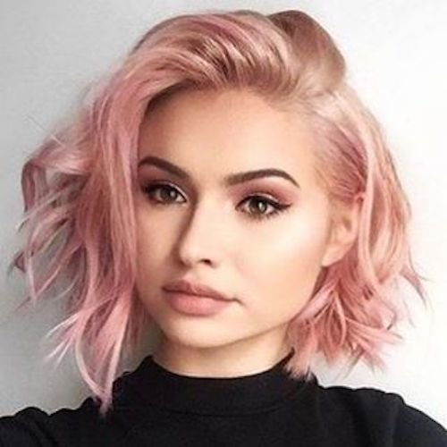 short chaotic rose gold hair color