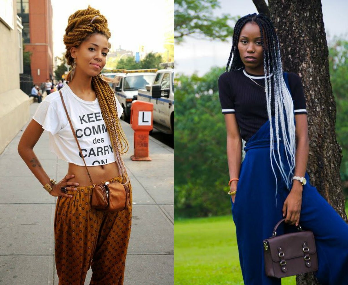 Colorful long-box braids hairstyles