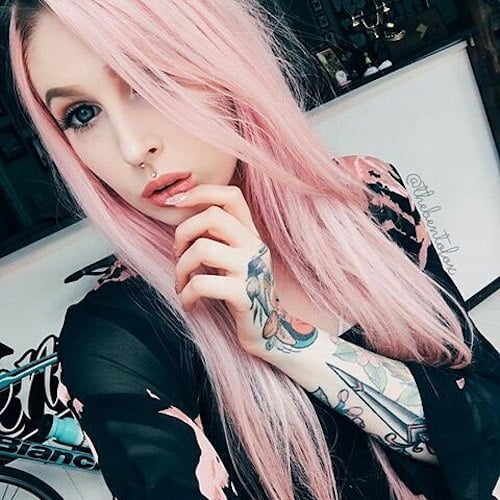 straight pastel pink hair color