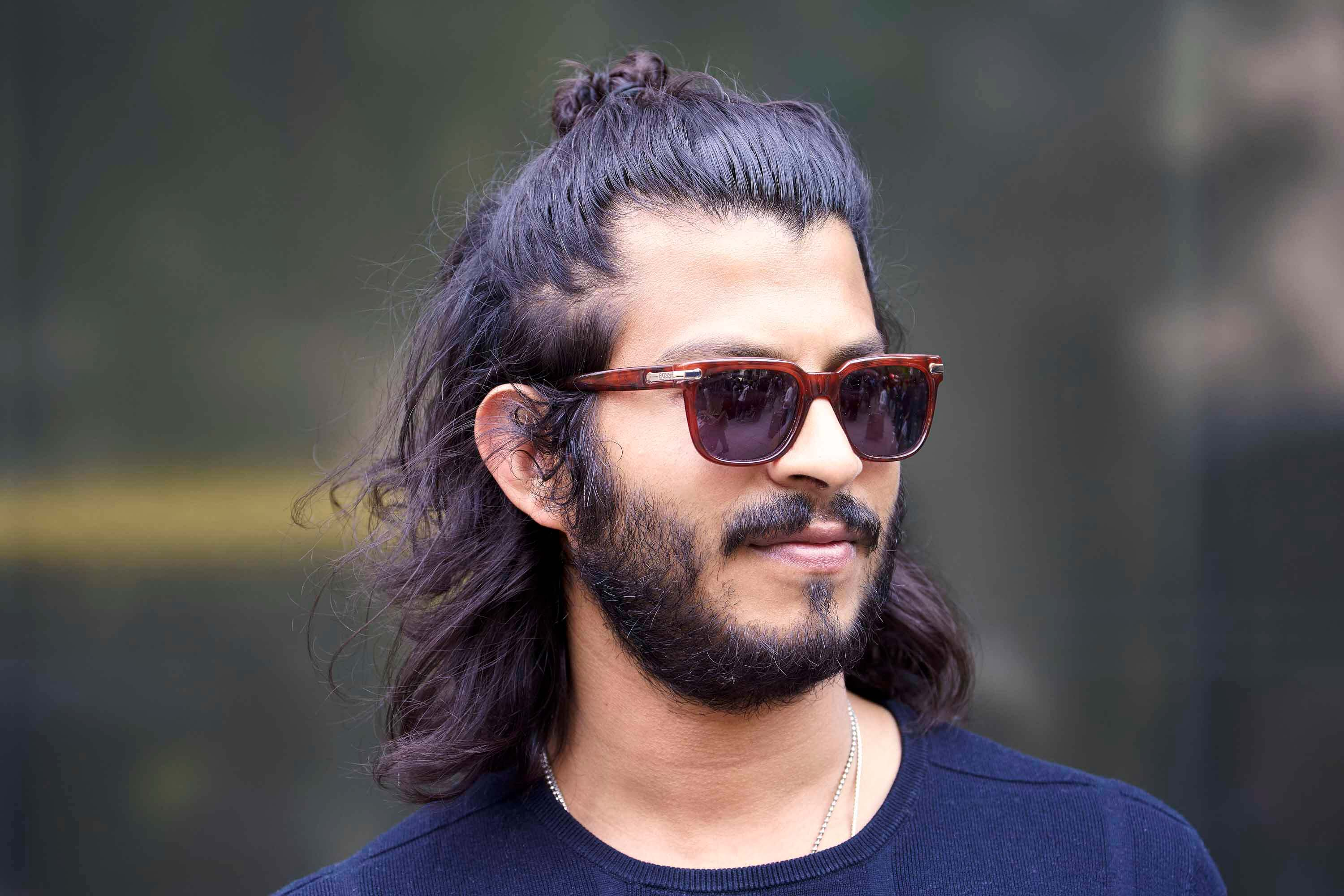 half rolls for men with long hair