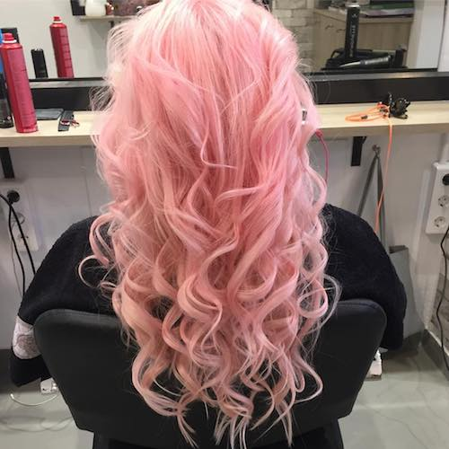 curly pastel pink hair color