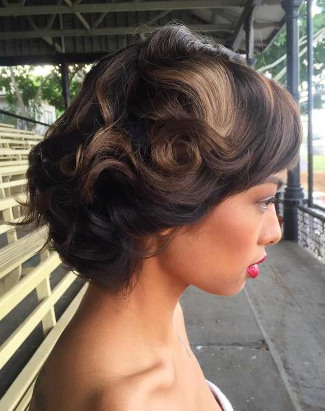 Retro wedding hairstyle for shorthair