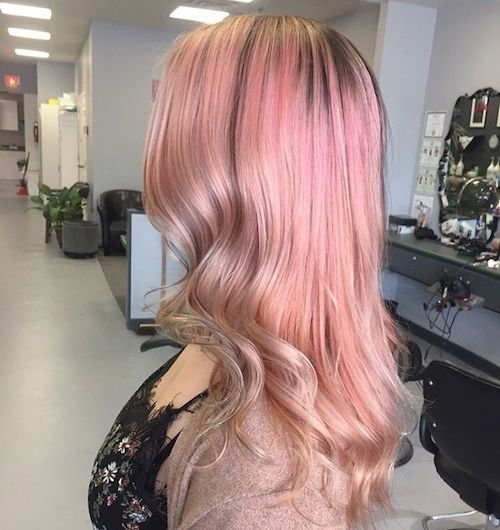 long rose gold-colored hair color