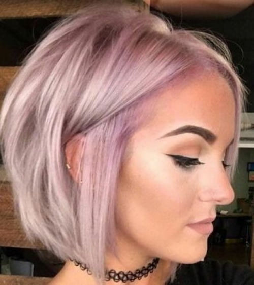 Short pastel blonde hairstyle for thin hair