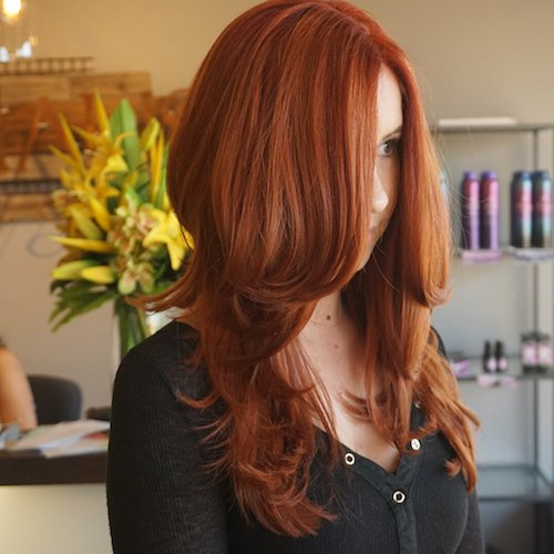 Copper hair color for long hair with curls
