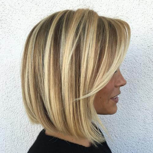 Curled under Bob with Chunky highlights