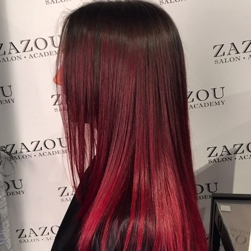 ruby red balayage hairstyle