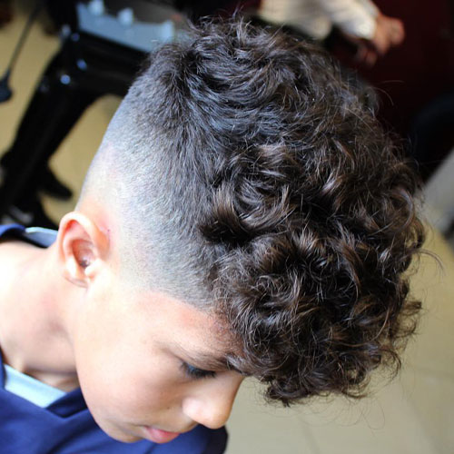 Cool Boy Haircuts - Mid Skin Fade + Thick Curly Hair Fringe