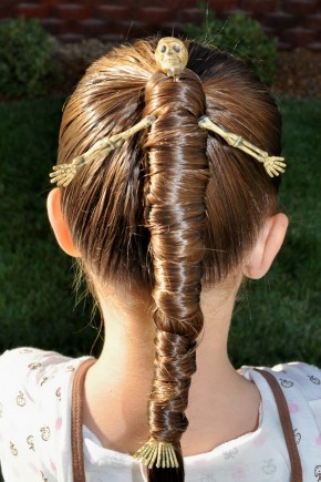 Halloween hairstyles for children with skeleton