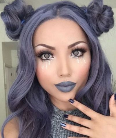Purple hair color for brown eyes