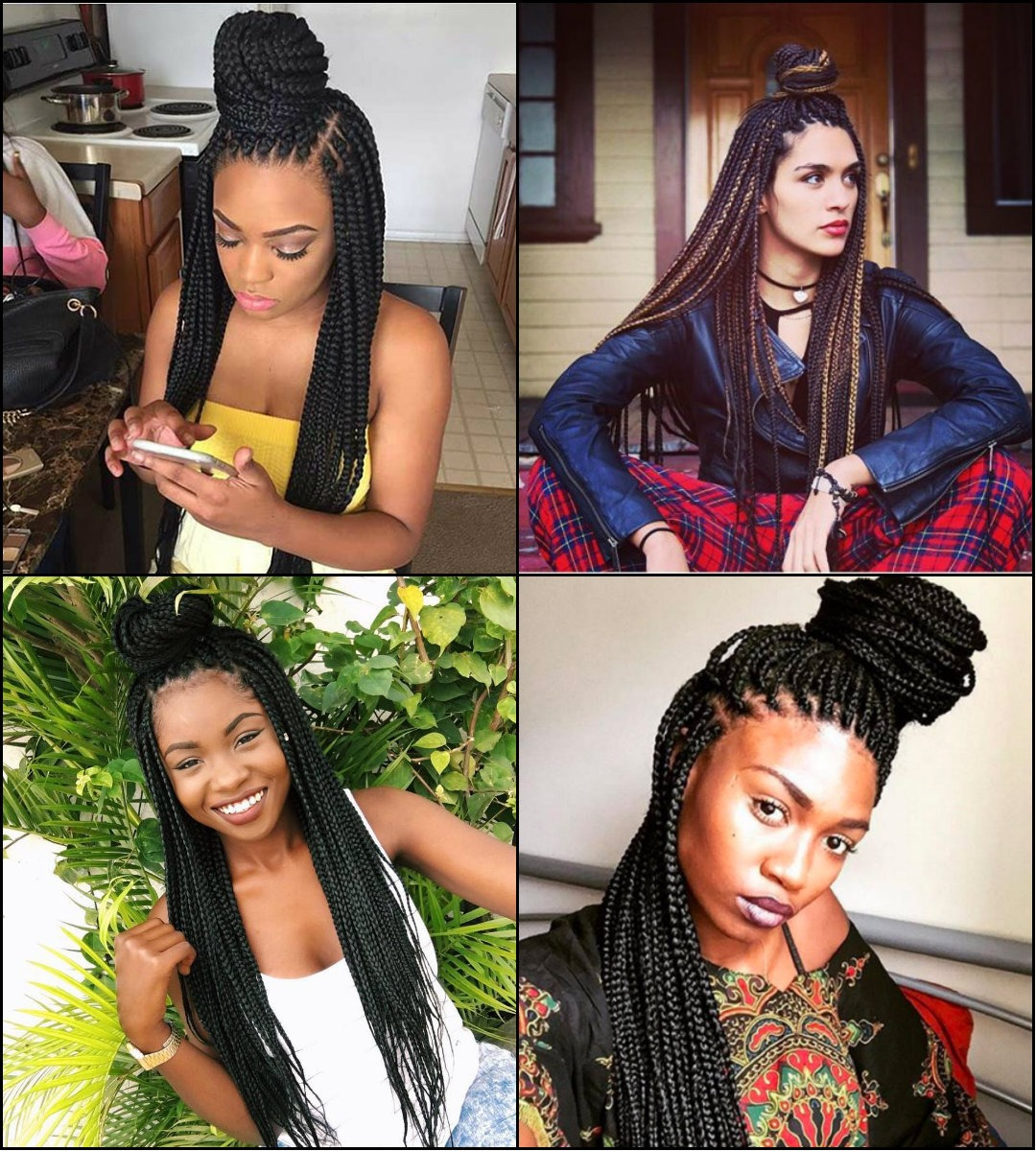 Best-Half-Up Half-Down-box braids bun hairstyles