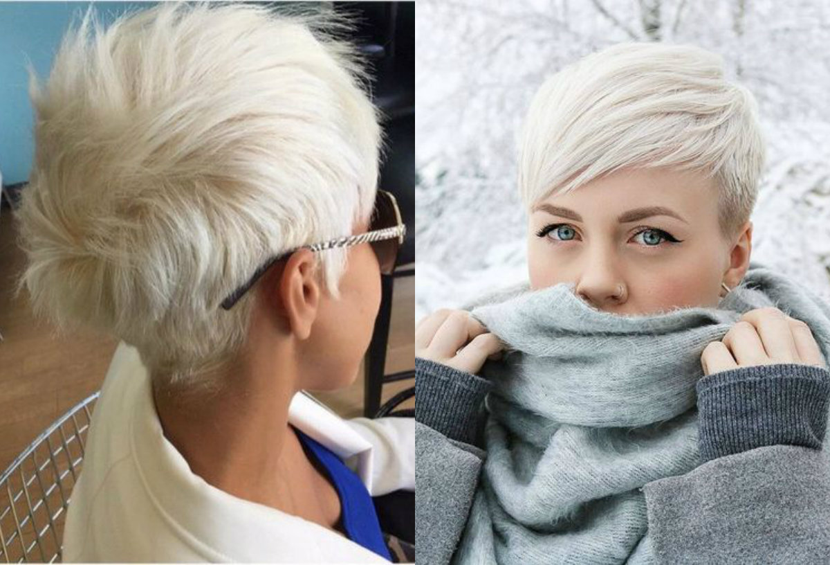 Bleached blonde pixie hairstyles