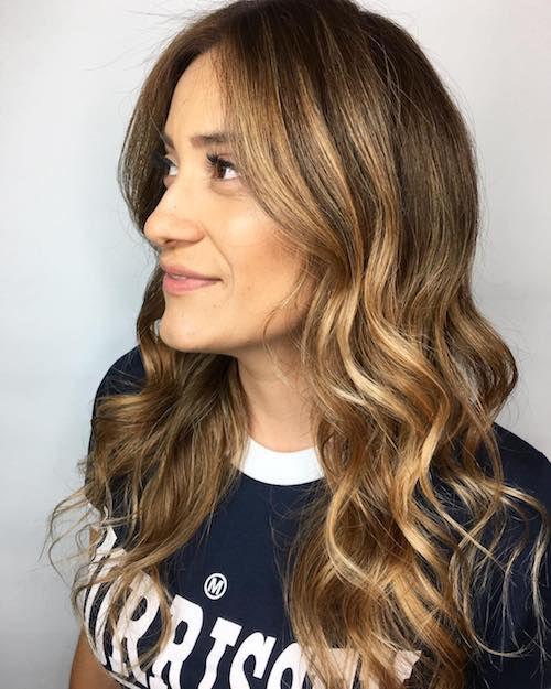 brown eyes with honey-blonde highlights