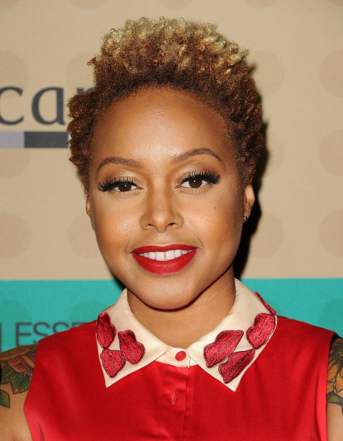 Chrisette Michele Short Ombre Afro Hairstyles
