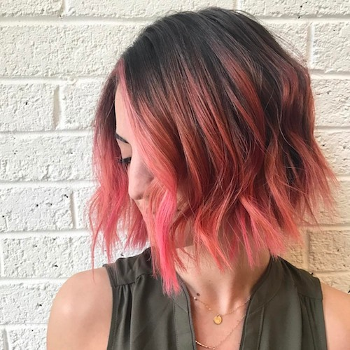 short hair with pink reflexes