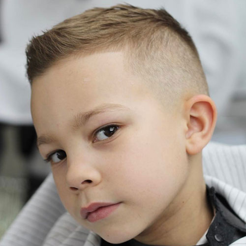 Faded Sides + Short textured hair on top for kids