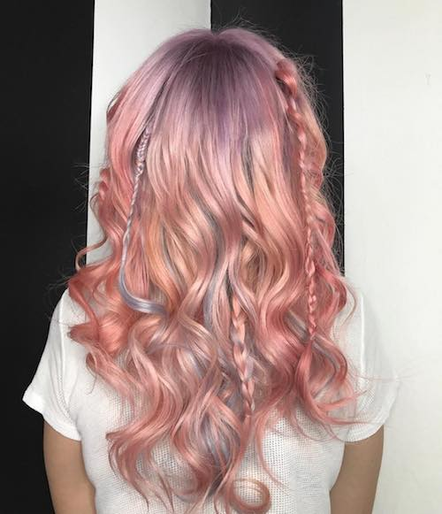 Rose gold hair color with pigtails