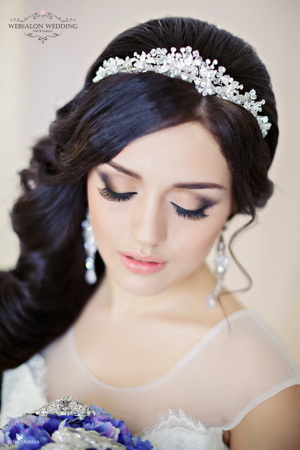 Crystal bridal headbands-for-long Wedding Hairstyles