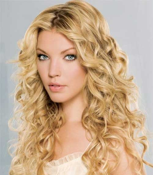 Long Curly Hairstyles for Round Faces-21st