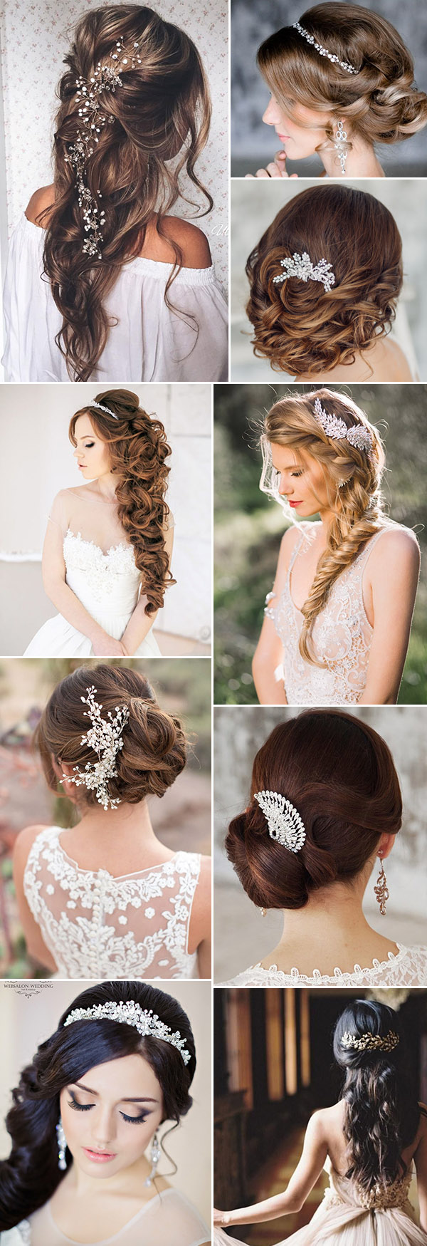 beautiful wedding hairstyles-with-bridal headpieces and wedding hair accessories