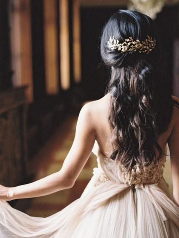 Half-down half-hairstyles-with-bride headwear