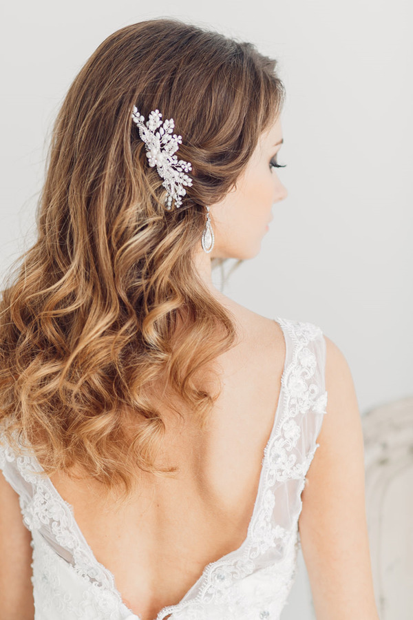 Down Wedding Hairstyles with Bride headgear-to-middle-length hair