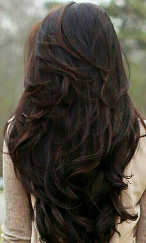 Dark brown long layered haircuts