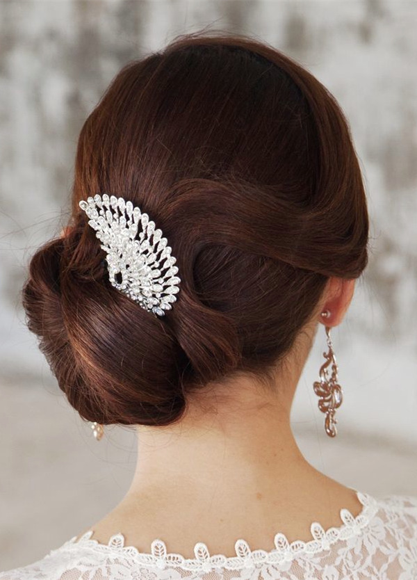 Unique peacock-inspired crystal bridal headdress for-Updo Wedding Hairstyles