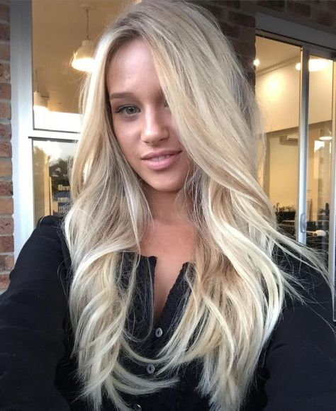 Long blond hairstyle