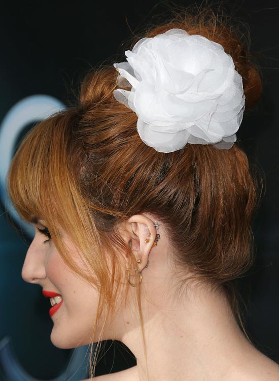 9-Messy high-Bun-with-puffy-top and fringe
