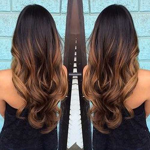Dark brown long ombre hairstyles