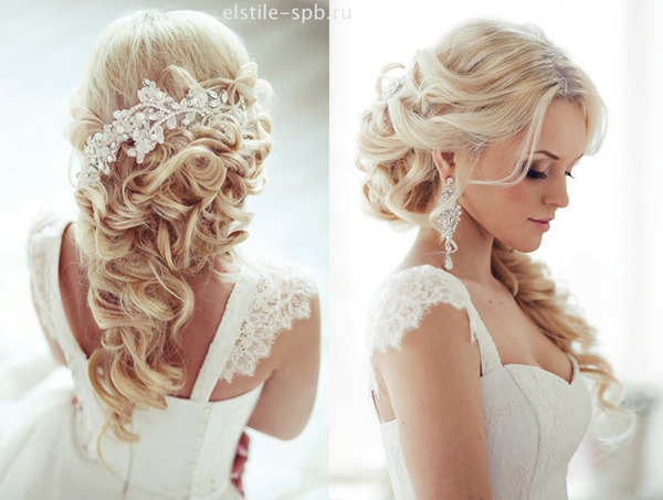 Half-Up Half-Wedding hairstyles-with-Bride Hair Accessories