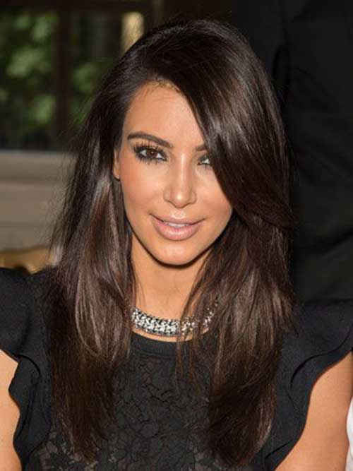Dark brown long fine hair color