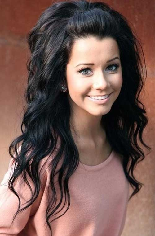 Dark curly long hairstyles for girls