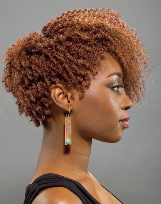 Stylish short afro hairstyle side view