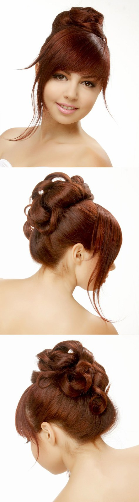 Long updo with blunt cut bangs