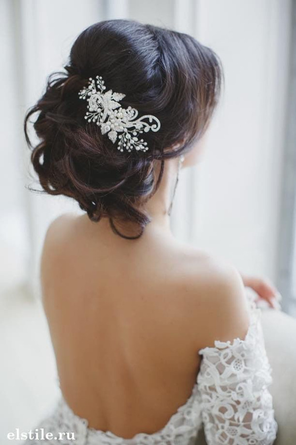 Updos Wedding hairstyles-with-beautiful Bride headwear