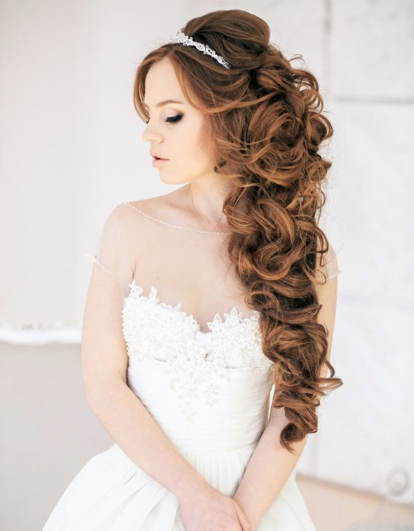 Down Wedding Hairstyles for Long-hair-with-bride headdress